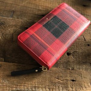 kate ♠️ spade | Red and Black Plaid Zipper Wallet